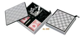 Aluminium chess / playing cards / domino set al-300