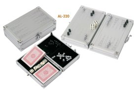 Aluminium backgammon / playing cards set al-320