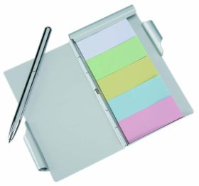 Aluminium case with sticky notes and pen al-80