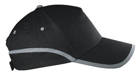 5 panel cap with reflective strip / black cr-030 bk