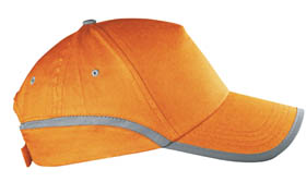 5 panel cap with reflective strip / orange cr-030 or