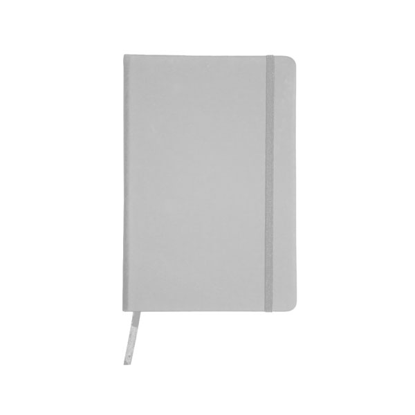 A5 Note book 'BUSINESS' with a PU cover, 96 lined pages, ribbon marker and a coloured elastic nylon band for closing - Silver es-10 s