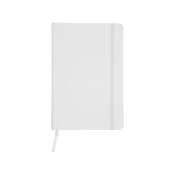 A5 Note book 'BUSINESS' with a PU cover, 96 lined pages, ribbon marker and a coloured elastic nylon band for closing - White es-10 w