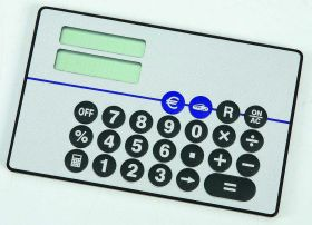 Card size EURO converter calculator grey eur-25gy