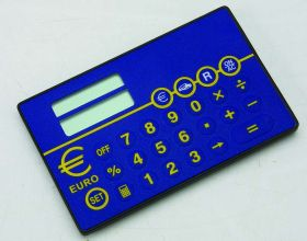 Card size euro converter calculator blue eur-70bl