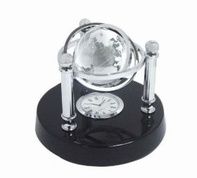 Executive swivel crystal globe with clock in polished wooden base exe-15