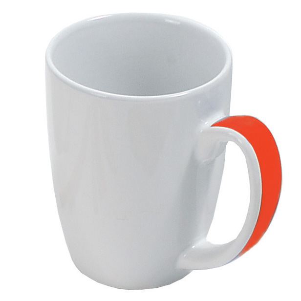 White ceramic mug with coloured handle - red gb-208 r
