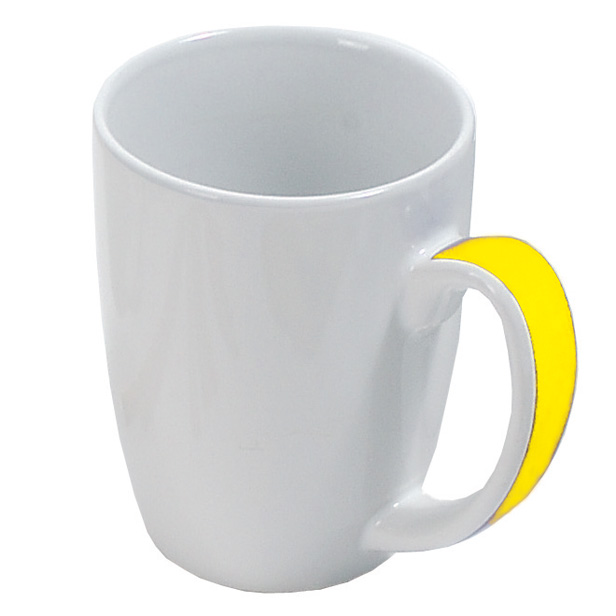 White ceramic mug with coloured handle - yellow gb-208 y