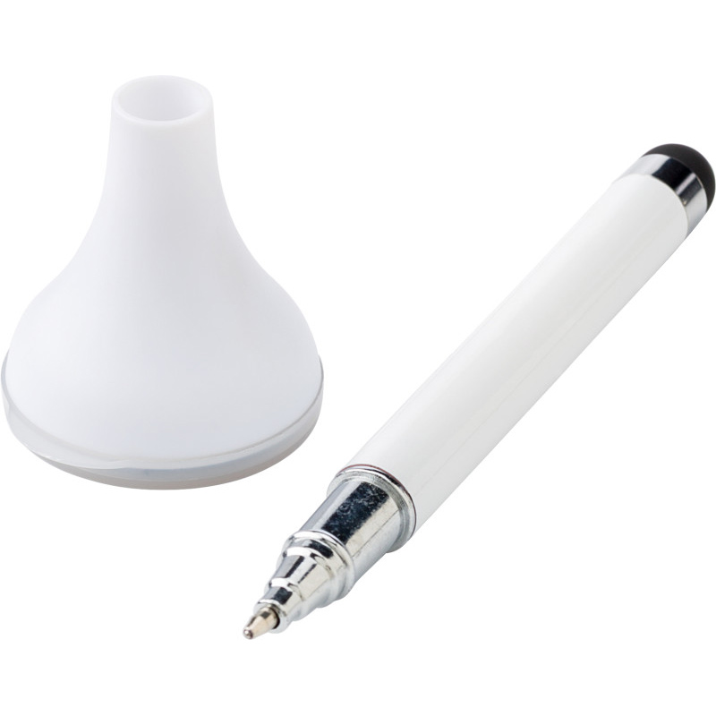 Ballpen with rubber tip, suitable for all capacitive screens, with a screen cleaner and a transparent lid. - White giv-431202