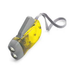 Dynamo self charging plastic torch with two LED lights - Yellow giv-453206