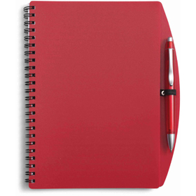 A5 Spiral bound PVC covered sixty five page notebook - Red giv-514008