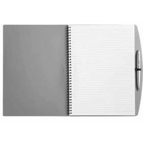 A4 spiral bound PVC covered sixty five page note book and plastic ballpen. - Grey giv-514103