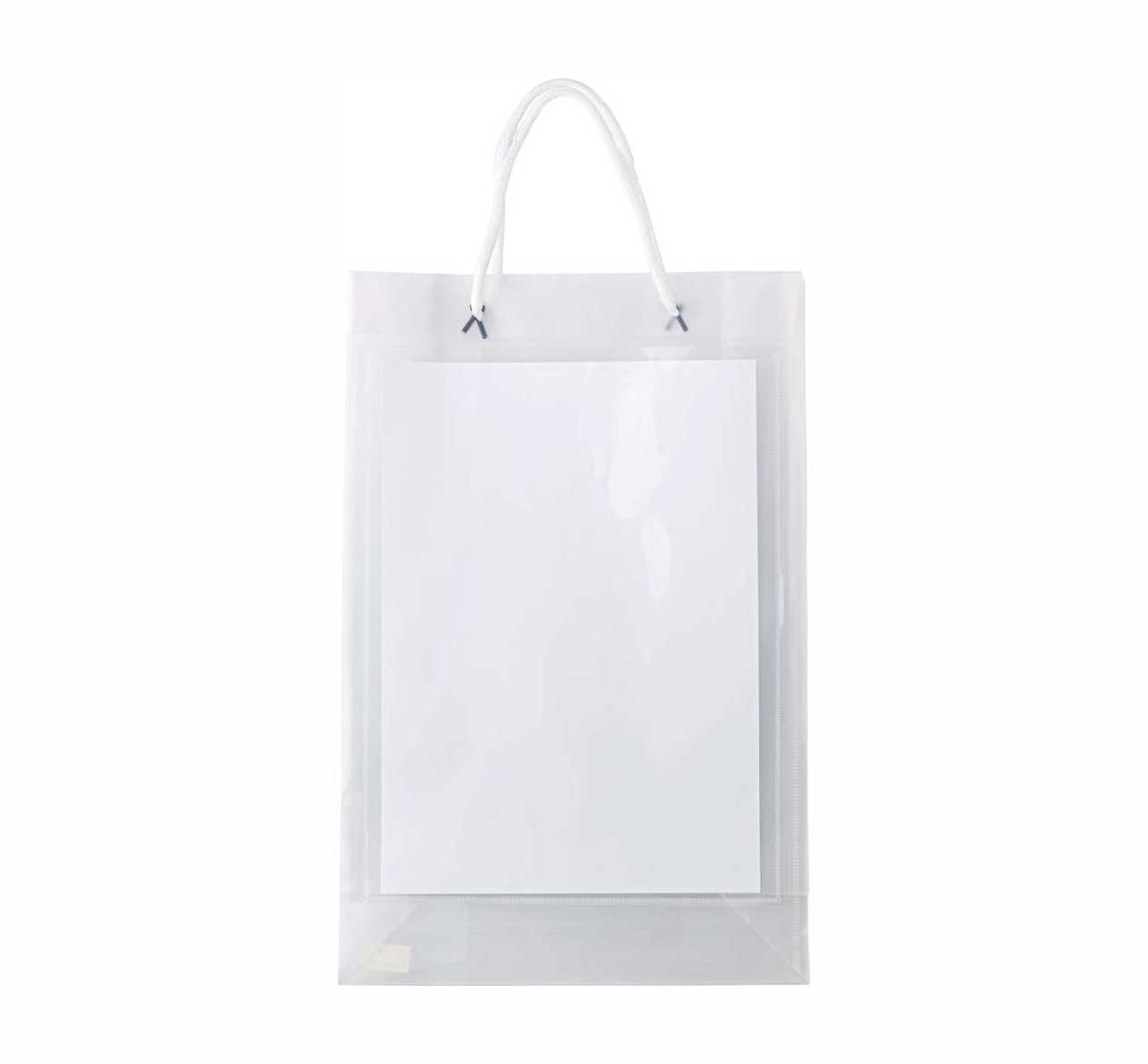 A4 polypropylene promotional/exhibition transparent bag with two white carry cords. - Transparent giv-6623