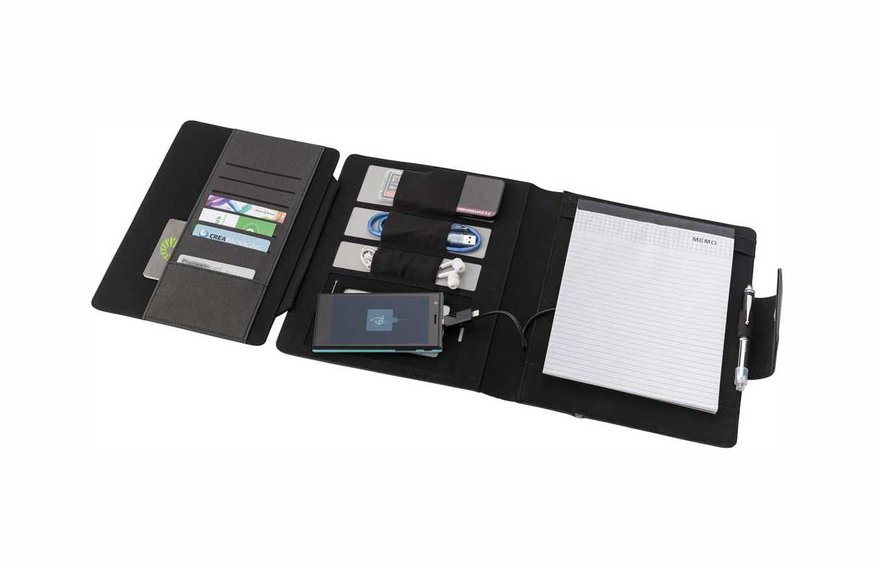 A5 Svepa PU document folder with integrated 5000 mAh powerbank, rubber casing suitable to hold a tablet, different pockets, lined note pad, and a cable with 2-in-1 connector. giv-6725