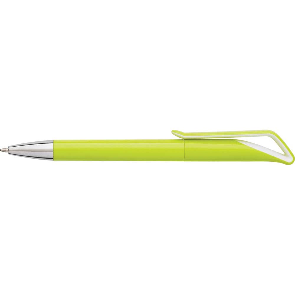 Geometric swan-shaped ballpen with twist action and a silver coloured tip. - Green giv-762929