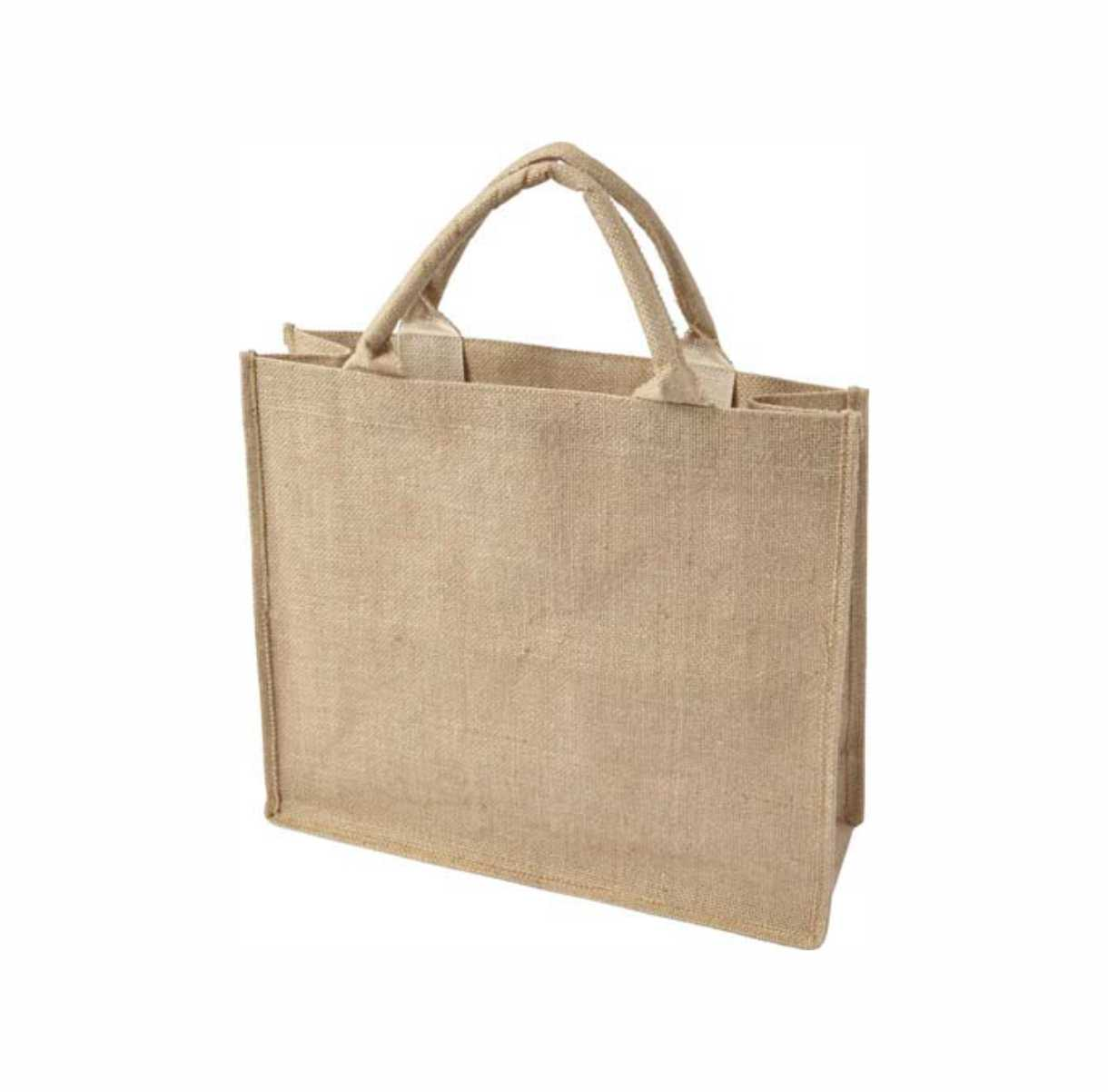 Jute shopping bag with short handles, gusset and laminated interior. - Natural giv-7822