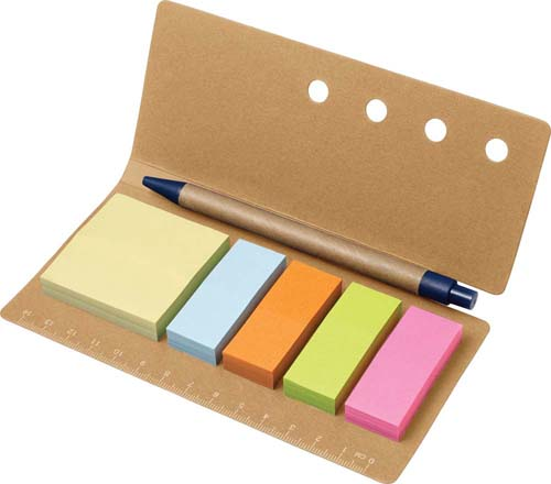 Cardboard holder with ruler (13cm), four different smaller sticky notes and one set of larger sticky notes one hundred sheets each, with cardboard click-action and a ballpoint pen. - Natural giv-7830