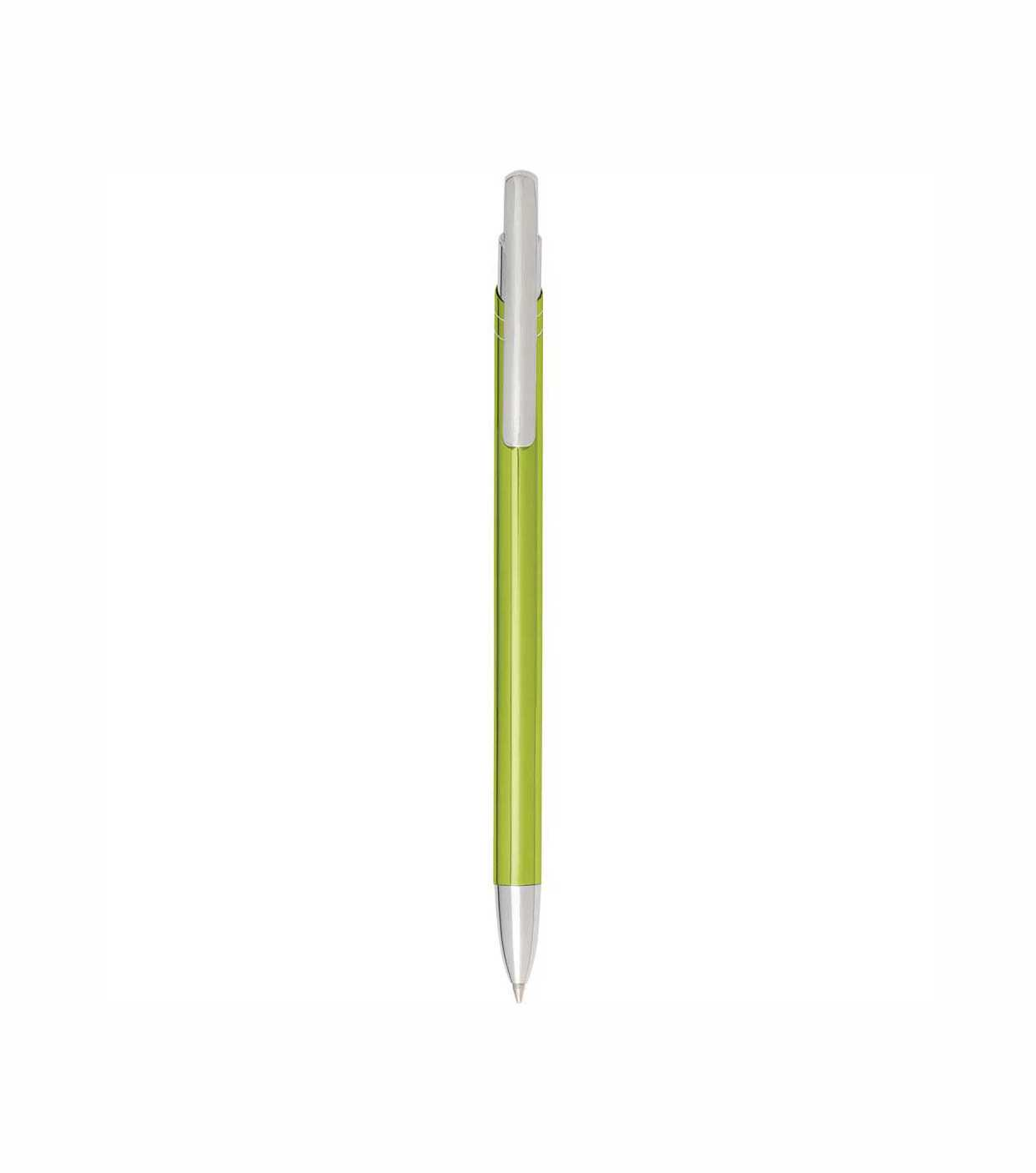 Aluminium click-action ballpoint pen with silver coloured accents. - Lime giv-798319