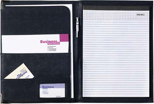 A4 PU conference folder with gold or silver gift corners - Black giv-862001