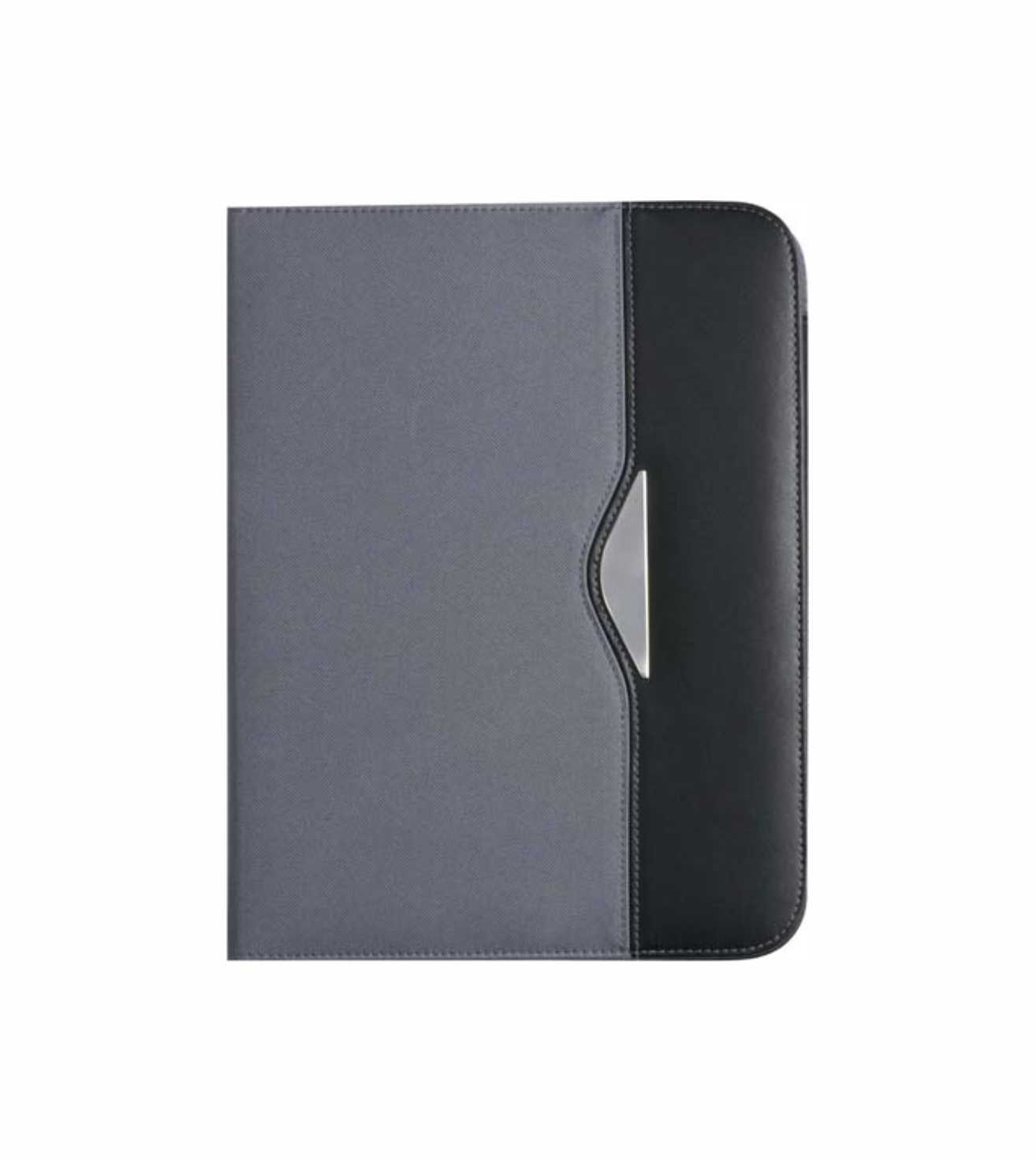 A4 nylon conference folder (70D) with two large internal pockets and two small business card pockets, nylon pen loop and a thirty page lined note pad. - Grey giv-866803