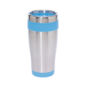 "Double-walled flask ""Lungo"" with screw-on lid and integrated drink opening - Silver/Blue ins-0304129"