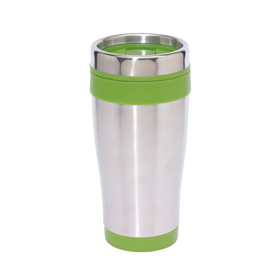"Double-walled flask ""Lungo"" with screw-on lid and integrated drink opening - Silver/Green ins-0304130"