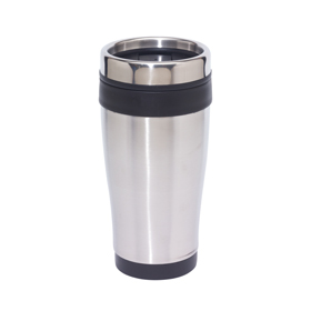"Double-walled flask ""Lungo"" with screw-on lid and integrated drink opening - Silver/Black ins-0304131"
