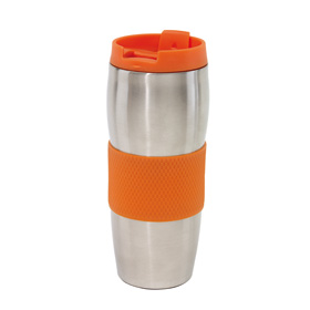 "Doubled-walled flask ""Au Lait"" - orange/silver ins-0304136"