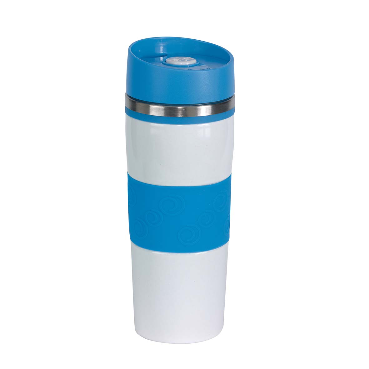 Double-walled travel mug ''Arabica'' - White / Light Blue ins-0304142