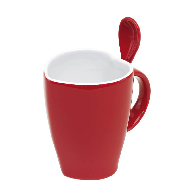 "Heart-shaped ceramic mug ""Hot Heart"" consists of spoon with hanging loop, handle with spoon holder, packed in a gift box. ins-0340040"