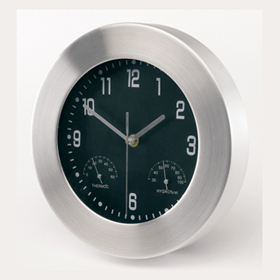 Aluminium wall clock with hygrometer, thermometer and wide frame. - W/HYGRO ins-0401220