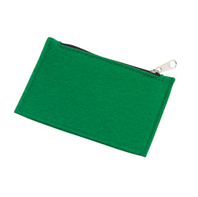 "Felt coin pouch ""Collector"", with zipper - green ins-0405208"