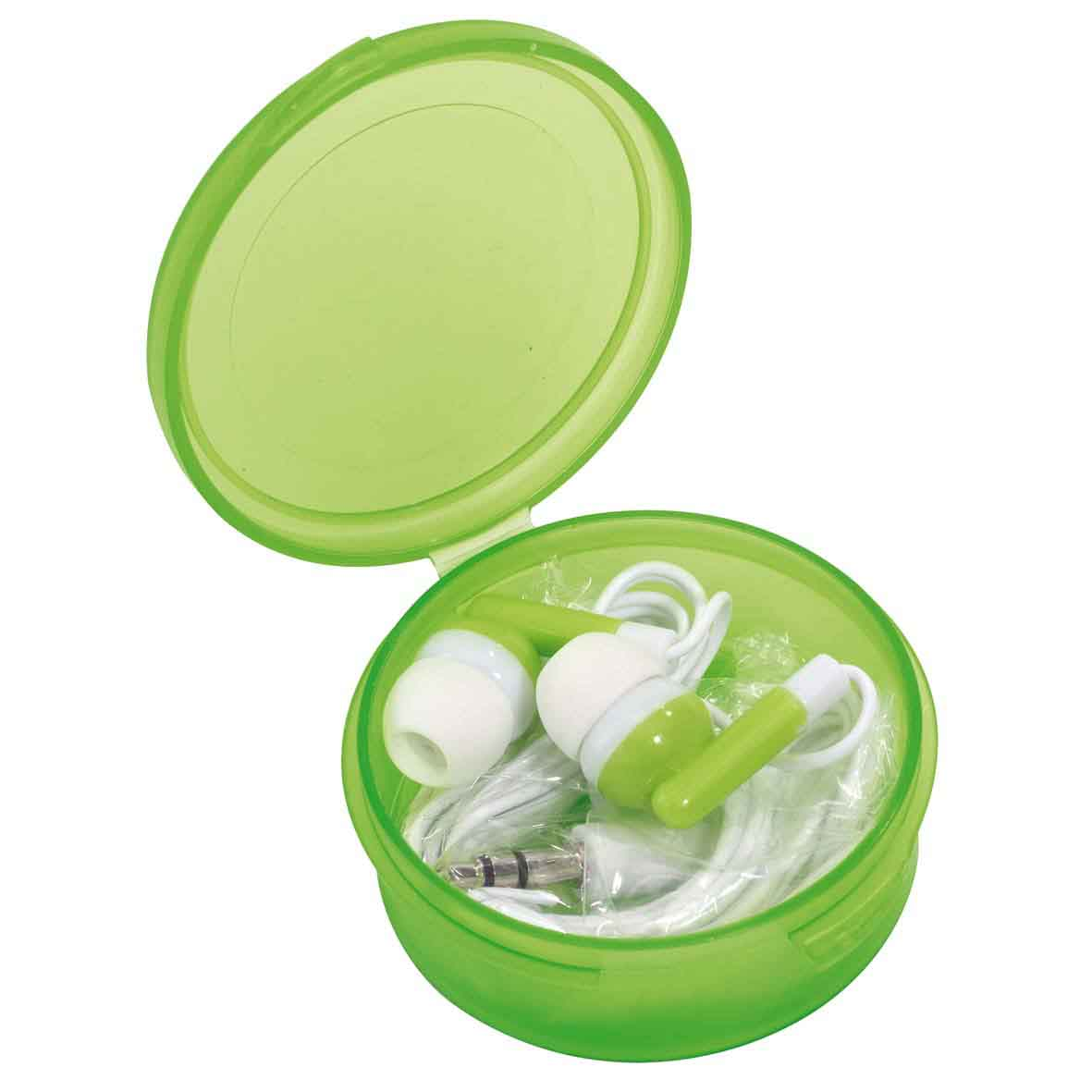 In-ear headphones 'Music': 3.5 mm jack plug, cable length approx. 117 cm, in colour matching storage box. - Green ins-0406238