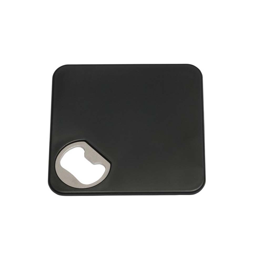 "Coaster ""Together"" with integrated bottle opener and non-slip coating at the bottom - Black ins-0499105"