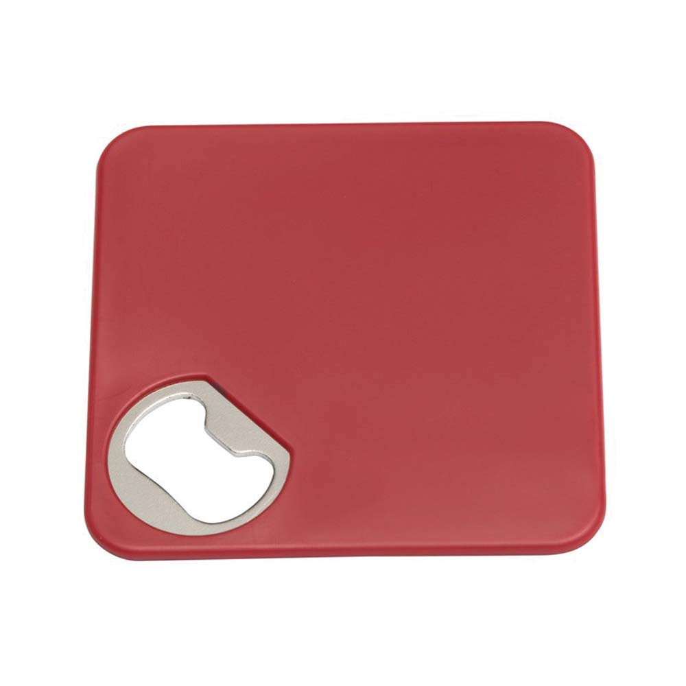 "Coaster ""Together"" with integrated bottle opener and non-slip coating at the bottom - Red ins-0499108"