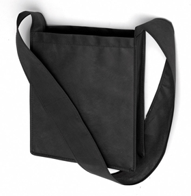 "Bag ""Mall"" with long and wide shoulder straps. Made with non-woven material. - Black ins-0808034"
