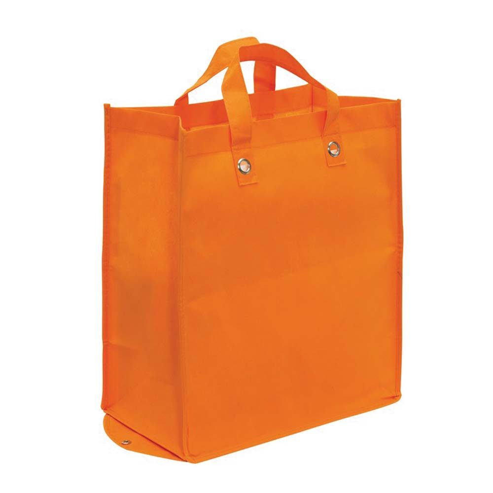 "Foldable non-woven shopping bag ""Palma"" with press stud, handle fastening strengthened by metal eyelets,reinforced bottom for improved stability and gusset. - Orange ins-0808059"