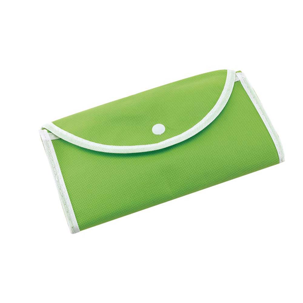"Foldable polypropylene shopping bag ""Porto""with press button fastener. -Light Green ins-0808065"