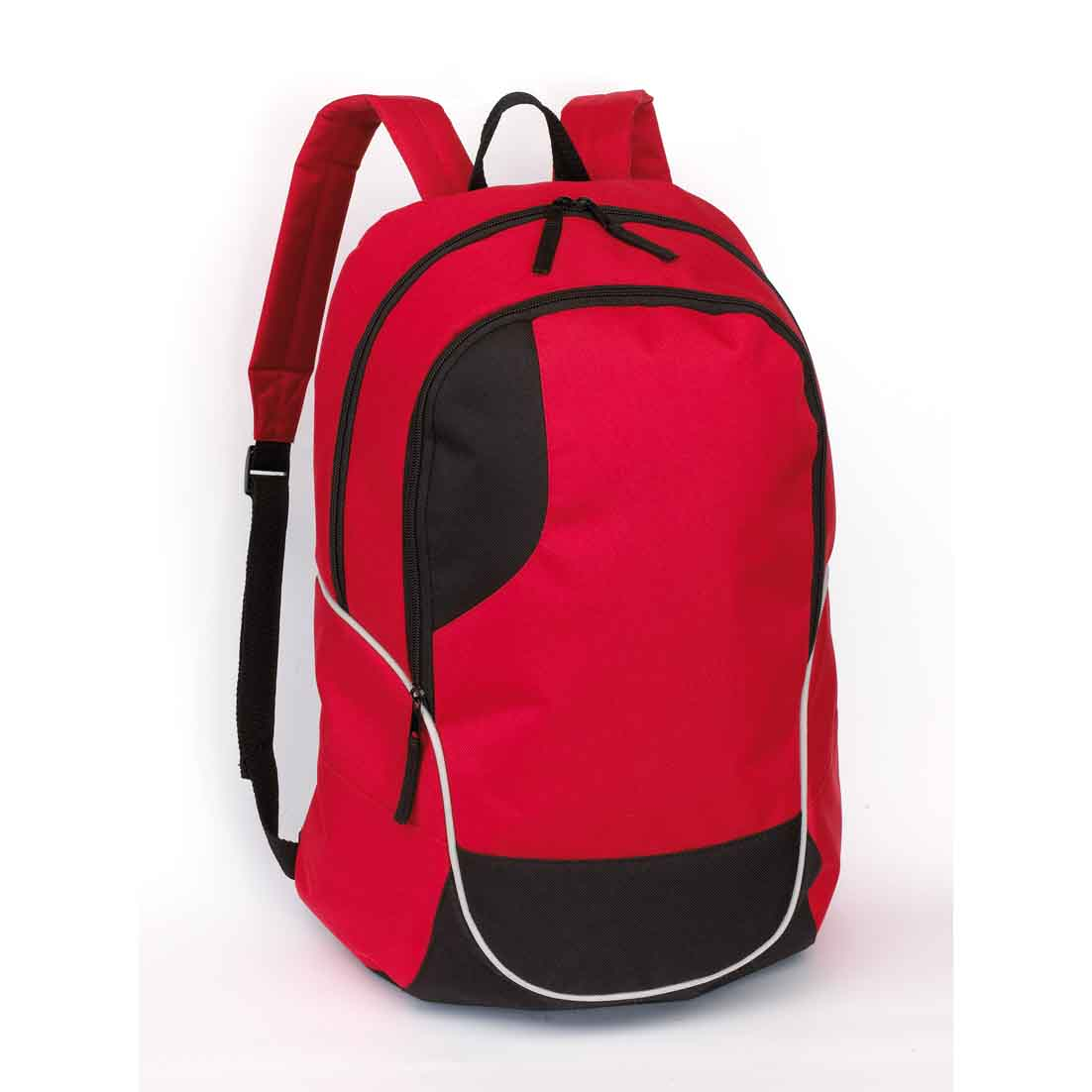 "Backpack ""Curve"": zippered main compartment, zippered front compartment, carrying loop, padded shoulder straps and back. - red/black ins-0819530"