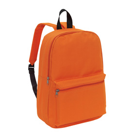 "Backpack ""Chap"" with front zip pocket, zippered main compartment, adjustable and padded shoulder straps, and one carrying handle. - Orange ins-0819564"
