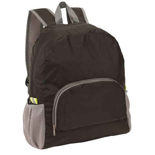 "Backpack ""Volunteer"", foldable: zipped front pocket, carrying strap, spacious zipped main compartment, two mesh pockets on the side, two reflective labels, carrying handle, adjustable padded shoulder straps – can be folded to a mini bag to save space and  ins-0819605"