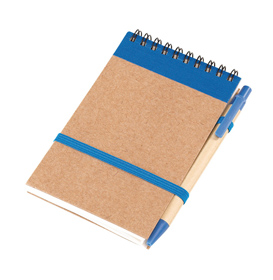 "Note book ""Recycle"" made of recycled paper/cardboard, plastic parts of the pen (with black ink) are biodegradable, with a ring back and a rubber band as a pen holder and closure. - Blue ins-1103155"