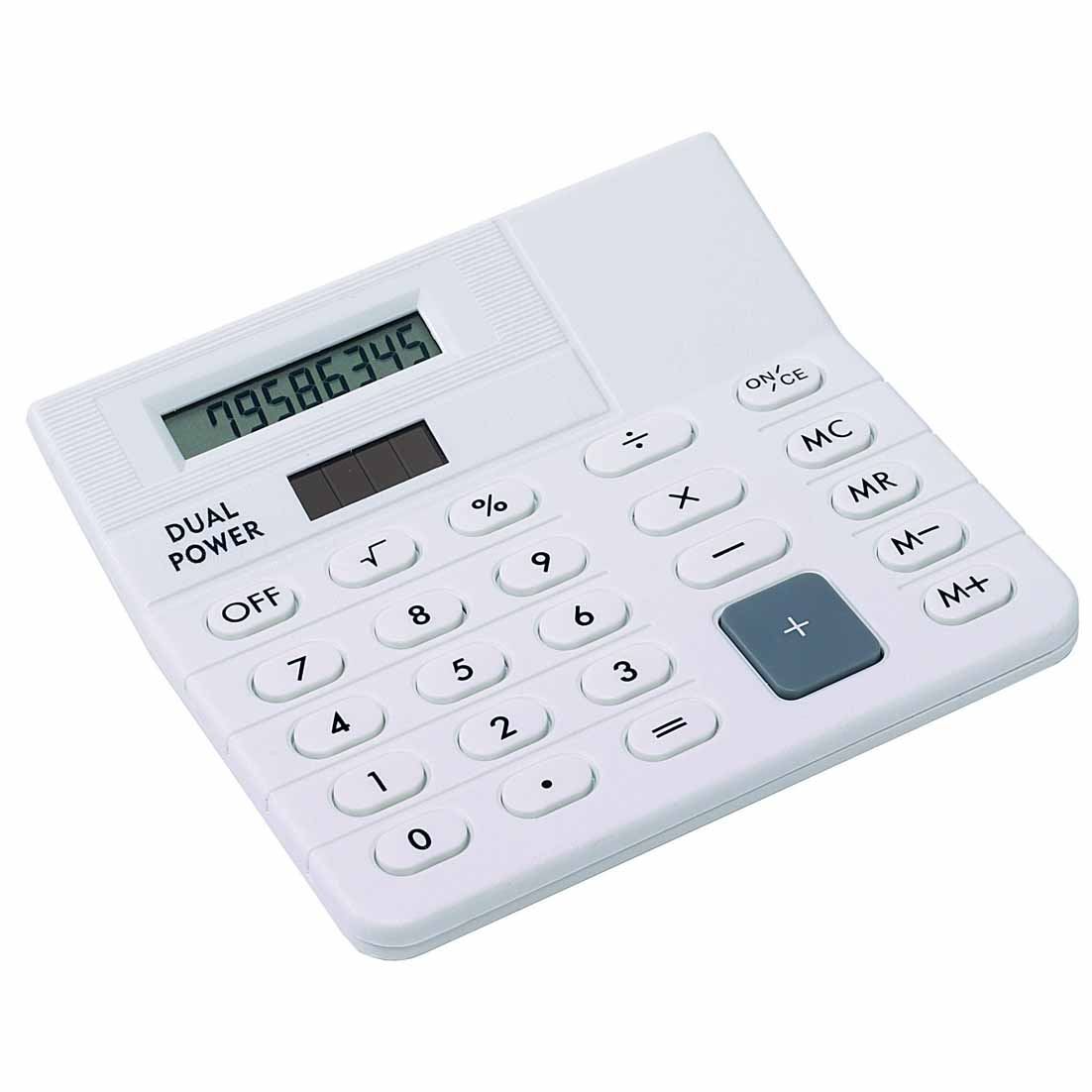 8-digit dual power desk top calculator with slanting screen. - white ins-1104096