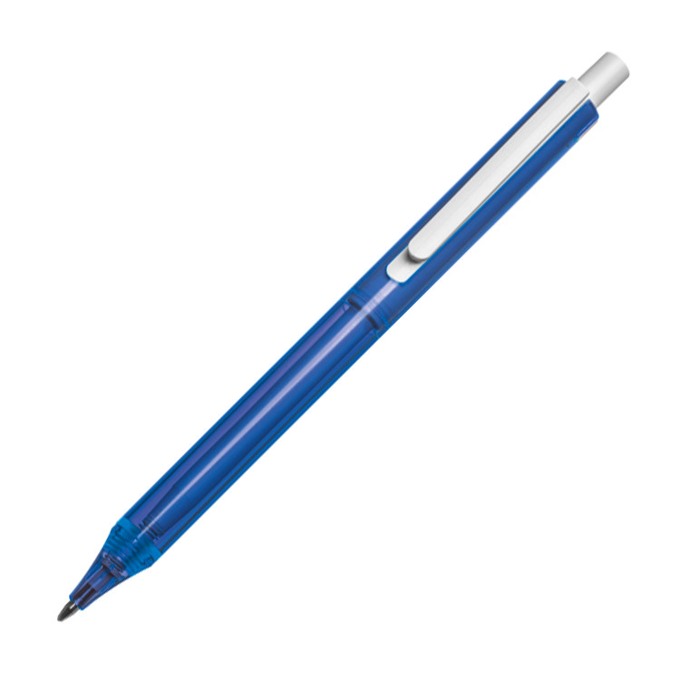 Transparent plastic ballpen with a white clip. - Blue mac-1006804