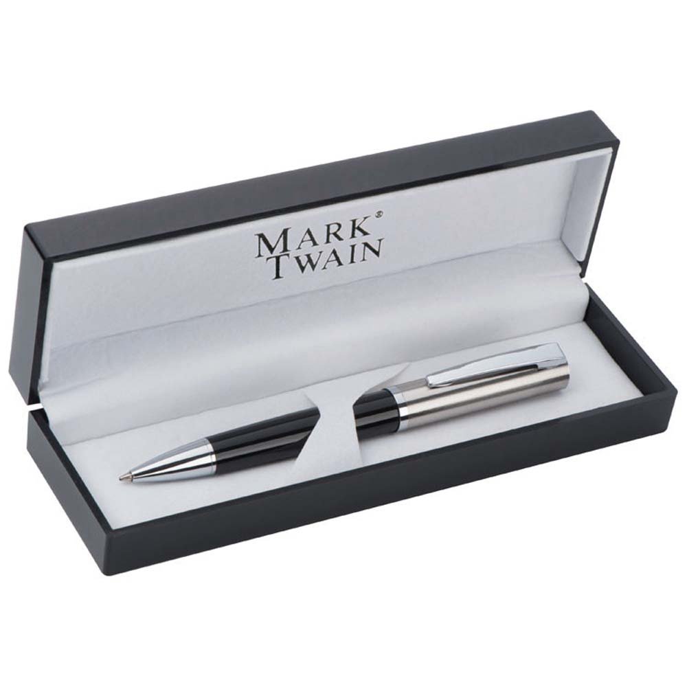 High quality Mark Twain metal ballpen with twist mechanism in an elegant box. mac-13383