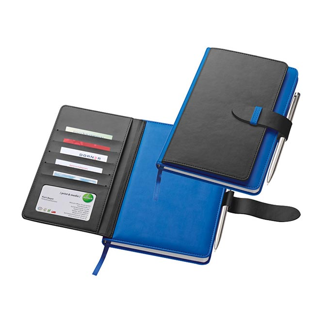 PU A5 note book with 256 lined pages, ball pen sleeve and space for 6 credit cards. Pen not included. - Blue mac-2008804