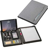 A4 folder made of bonded leather with integrated 5000 powerbank,USB cable, eight pockets, cell-phone pocket, ball pen loop, tablet pocket and a lined note pad. - Grey mac-20123