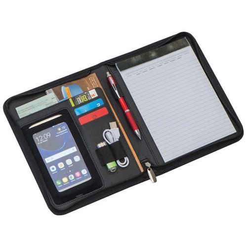 A5 folder made of quality bonded leather, with diverse compartments, smartphone holder, pen loop, lined note pad and with zip. - Black mac-20633