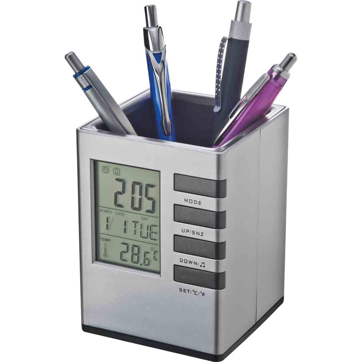 Plastic pen holder with space for pens and other desk accessories. mac-28715