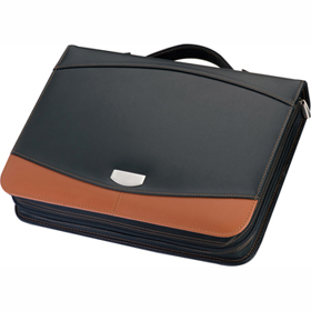 CRISMA REAL LEATHER DELUXE RING-BINDER DOCUMENT FOLDER mac-29075